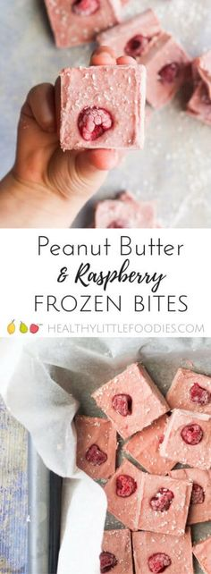 raspberry peanut butter freezer bites. Frozen treat for kids, no refined sugar