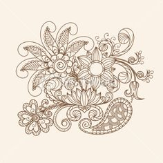 Henna Flowers | Hand-Drawn Abstract Henna Mehndi Flowers and Paisley Royalty Free ...on the other side of my back?