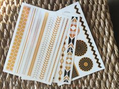 Geometric Tattoo Gold Silver Metallic Temporary Tattoo Body Jewelry Fake Tats 3 SHEETS