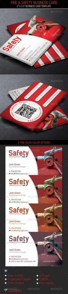 Fire Safety Service Business Card Template
