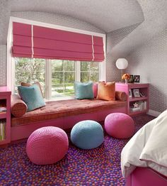Suzanne Lovell - girl's rooms - gray and white wallpaper, geometric wallpaper, gray and white geometric wallpaper, window seat, built-in win...