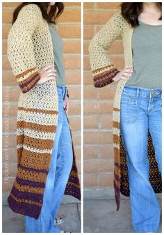 Crochet Blusas Patterns Boho Duster Cardigan Crochet Pattern - The Boho Duster Crochet Pattern is just what you need for fall! It's long, comfy, and has a fun bell at the hips and in the sleeves. Crochet Coat, Crochet Cardigan Pattern, Crochet Clothes, Crochet Sweaters, Boho Crochet Patterns, Sewing Patterns, Style Patterns, Vogue Patterns, Vintage Patterns