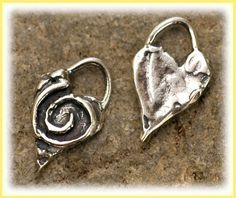 Artisan Spiral Heart Charms in Sterling Silver, Two Giving Heart Charm