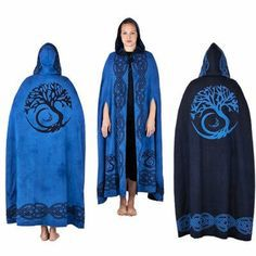 Cloaks Pagan Wicca Witch: Blue Tree of Life Reversible Cloak. A medium-weight cloak that completely envelopes your body. The open front has cord ties for securing, and draping the hood. -I like the arm slits Renaissance Gown, Medieval Dress, Medieval Clothing, Celtic Druids, Witch Outfit, Celtic Tree Of Life, Wiccan, Pagan Witch, Magick