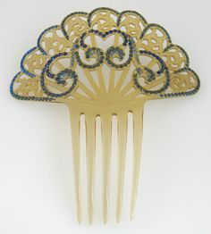 Antique Art Deco Celluloid Hair Comb Fan with Blue Rhinestones   eBay