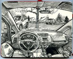 Inside the car Yet again. A three-part sketch completed between February and March 2014 (at several locations). Staedtler Pigment Liner and Micron in pocket Moleskine sketchbook. Perspective Drawing Lessons, Perspective Sketch, Figure Sketching, Urban Sketching, Art And Illustration, Moleskine Sketchbook, Sketchbooks, Moleskine Notebook, Sketchbook Drawings