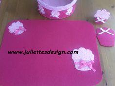 Cupcake desenli Amerikan servis takımları. Cupcake table mat & coaster  www.juliettesdesign.com