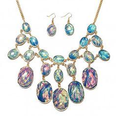 Crystal Oval Bib Bubble Necklace Earrings Jewelry Set