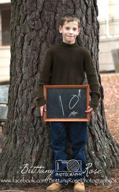 boy, photography ideas, birthday, age 10, chalkboard