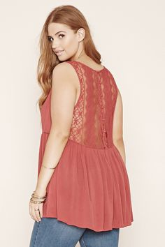 f4723c940f6 Forever 21+ - A sleeveless woven gauze top with a semi-sheer lace back. Forever  21 FashionTrendy Plus Size ...
