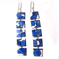 These earrings were inspired by 1950's textile design.  They are 120 mm long and 20 mm wide sue gregor
