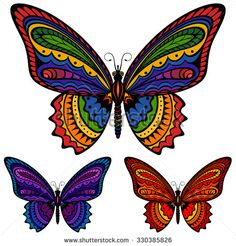 Vector illustration of a butterfly in three different color schemes: rainbow-colored, blues, and reds. Each butterfly is on its own layer, easily separated from the others in a program like. Colorful Butterfly Tattoo, Butterfly Quilt, Butterfly Pictures, Butterfly Template, Purple Butterfly, Hand Art, Free Vector Art, Beautiful Butterflies, Royalty Free Images