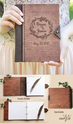 A modern rustic twist to a traditional wedding guest book. The cover is wood and it's engraved with your name and date. To me, the leather binding makes it special, too. You could also use this as a wedding planning journal instead of guestbook.