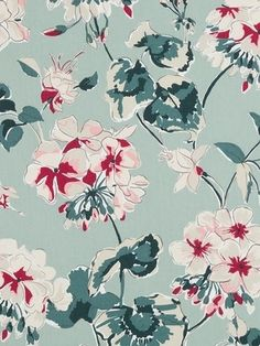 "Madcap Cottage Mirador Morn Celadon - Madcap Cottage Fabric - Floral print fabric for window treatments, upholstery or top of the bed. 100% cotton. Repeat: H 27"" x V 27"". Durable 30,000 double rubs. 54"" wide."