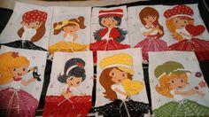 Panos de prato pintados a mão de bonecas
