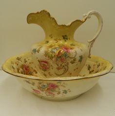 Fieldings Pottery Wash Jug & Basin set circa 1895 Fieldings.