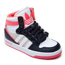 Adidas  Toddler Originals Court Attitude Trainer: These cool little toddler versions of the Adidas Origanls Court Attitude trainers are great fun. They come in blue, pink or yellow for the toddler boy or girl and feature a padded ankle and cushioned sole for comfort and support, their signature 3-stripes down the side, logo on the tongue and branding on the side of the sole.