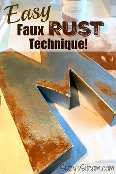 Learn how to create realistic looking DIY rust with this easy faux rust paint technique for your home decor.  The simple ingredient is cinnamon!  Create beautiful wall art with these fun tips and tricks. It's a great beginner paint finish! #fauxpaint #homedecor #kenarry #ideasforthehome