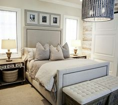 Headboard Sophisticated bedroom with rustic wood paneled walls, linen bed with nailhead . Home Bedroom, Dream Bedroom, Master Bedroom, Bedroom Decor, Ivory Bedroom, Bedroom Lighting, Bedroom Wall, Master Suite, Sophisticated Bedroom