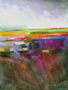 Carol Engles Art: Lavender Sky Two, abstract landscape by Carol Engl...