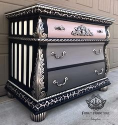 Brittany Pistole - Funky Funriture Facelifts - Grown & Sexy 182 - Home and Garden Decoration Funky Painted Furniture, Refurbished Furniture, Paint Furniture, Repurposed Furniture, Furniture Projects, Furniture Makeover, Furniture Decor, Furniture Stores, Furniture Design