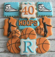 One Dozen Customizable Basketball Birthday Themed Decorated Sugar Cookies Iced Cookies, Cut Out Cookies, Cute Cookies, Royal Icing Cookies, Cupcake Cookies, Sugar Cookies, Crazy Cookies, Fondant Cookies, Basketball Cookies