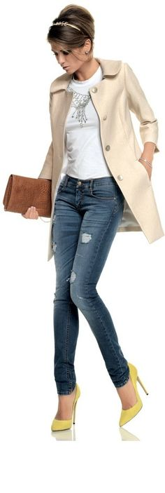 Love the mix of it all.   Classic hair. Casual jeans. Fun colored shoes Neutral handbag. Fancy necklace. Comfy t-shirt.