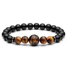 Black Agate & Tiger Eye Bead Bracelet