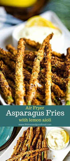 A homemade lemon and garlic aioli dipping sauce is the perfect accompaniment for this light appetizer of Air Fryer Asparagus Fries. Air Fryer Asparagus Fries with Lemon Aioli Caroline Schrabback c Air Fryer Recipes Appetizers, Air Fryer Recipes Snacks, Air Fryer Recipes Low Carb, Air Fryer Recipes Vegetarian, Air Fryer Recipes Breakfast, Light Appetizers, Cooking Recipes, Healthy Appetizers, Cooking Tips
