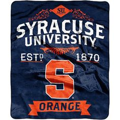 The Northwest Company Syracuse Orange Label Raschel Throw Blanket