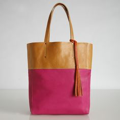 Roots leather tote bag.