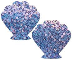 Pasties - Mermaid: J. Valentine Lavender Mesh & Iridescent Sequin Seashell Nipple Pasties by Pasteas Mermaid Shell, Lace Mermaid, Shell Bra, Revealing Dresses, Crazy Costumes, J Valentine, Pearl Chain, Mesh Material, Rave Wear