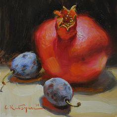 "Daily+Paintworks+-+""Pomegranate+and+Plums""+-+Original+Fine+Art+for+Sale+-+©+Elena+Katsyura"