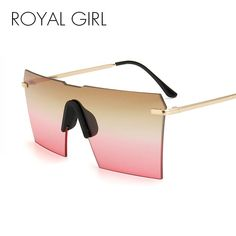 b55d3b53e6 ROYAL GIRL Cool Luxury Brand Oversize Sunglasses Women Sexy Rimless Mirror Sun  Glasses Shield Shades Men