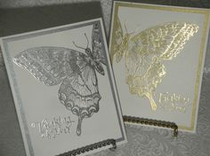 Stamp using Tsukineko Brilliance pigment ink -- Platinum Planet or Galaxy Gold -- on white cardstock. Mount onto shiny silver or gold cardstock and then onto card base. Add sentiment in same color ink you used for the Stampin' Up swallowtail. Beautiful!
