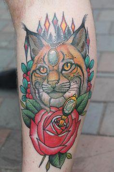 Nicely stylized cat (Lynx?) ~ Tattoo by Roger Axelsson & Håkan Havermark