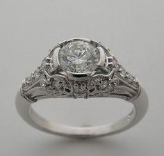 Art Deco Antique Style Diamond Engagement by marketplacetreasure, $2300.00