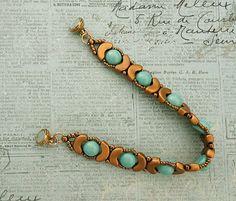 Linda's Crafty Inspirations: Leola Bracelet - Gold & Aqua