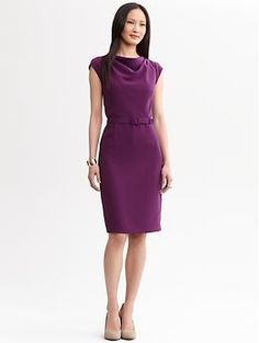 This dress is the most elegant, rich jewel-tone purple...  Julie Belted Sheath in Purple Orchid, from Banana Republic, $150