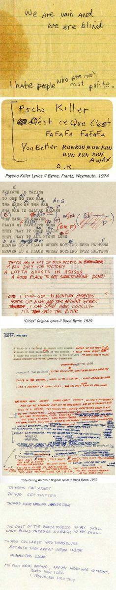David Byrne's original hand/typewritten lyrics