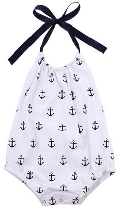 An adorable anchor printed halter romper & matching headband from The Trendy Toddlers. Made for your baby girl sailor! Baby Girl Fashion, Toddler Fashion, Kids Fashion, Fashion Clothes, Style Clothes, Fashion Accessories, Cute Outfits For Kids, Toddler Outfits, Cute Babies