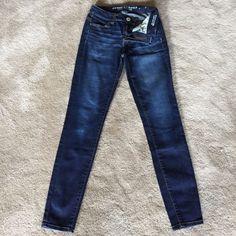 "Hi Rise Jeggings Legging like fit. Super stretch. Dark blue. Hi rise. 30"" inseam American Eagle Outfitters Jeans Skinny"