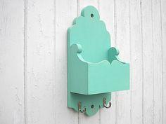 Mail holder key hook organizer wood turquoise shabby chic. $48.00, via Etsy.