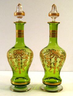 Pair Of Baccarat French Etched & Gilt Decorated Crystal Decanters