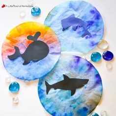 Ocean Animal Coffee Filter Suncatcher Craft for Kids + Pattern -