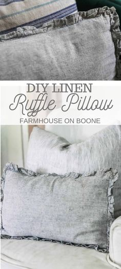 Add a beautiful and cozy touch with this DIY ruffle linen pillow. For this variation on the classic pillow cover, we are going to pretty it up with a delicate ruffle going all the way around the outsi Classic Pillow Covers, Classic Pillows, Diy Pillow Covers, Cushion Covers, Sewing Pillow Cases, Large Pillows, Diy Pillows, How To Make Pillows, Linen Pillows