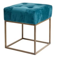 Blue Padded Fabric Stool with Gold Metal Legs on Maisons du Monde. Take your pick from our furniture and accessories and be inspired! Dining Sofa, Dining Room Bench Seating, Fire Pit Table And Chairs, Bedroom Seating, Dining Table Chairs, Teen Furniture, Hallway Furniture, Sideboard Furniture, Small Furniture