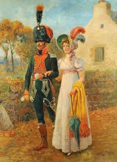 French Chasseur a Cheval of the Line, strolling with lady friend.