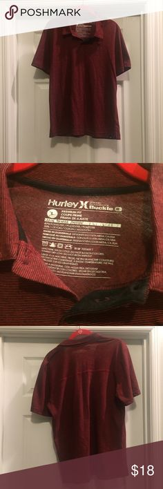 Hurley from Buckle, Men's Shirt Dark red with small black stripe. Premium fit. Size L but fits like a medium. From Buckle. Hurley Shirts Polos