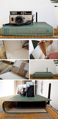 hide your router in plain sight with an old book cover
